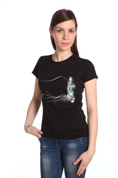 Кот усатый футболка женская